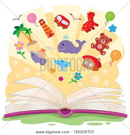 Vector illustration of an open book and the knowledge that it contains.