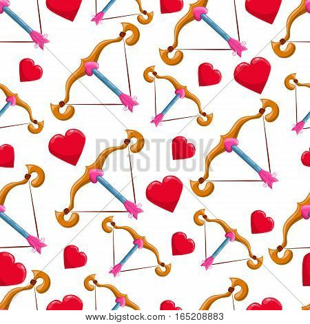 Seamless pattern with heart and crossbow. Valentines illustration