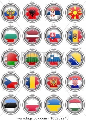 Set Of Icons. Flags Of The Europe. Vector.