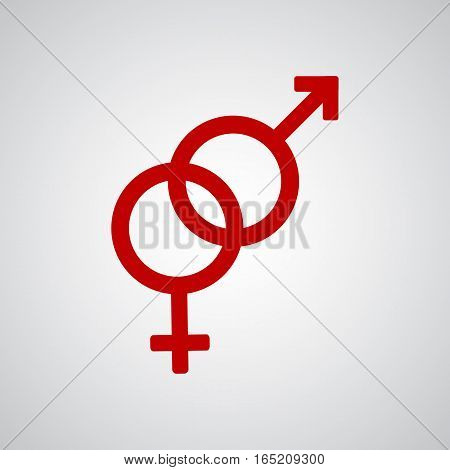Heterosexual red symbol on the gray background