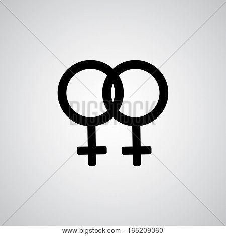 Lesbian black symbol on the gray background