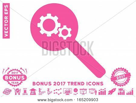 Pink Search Gears Tool pictogram with bonus 2017 year trend symbols. Vector illustration style is flat iconic symbols white background.