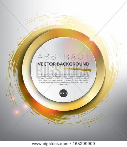 Abstract vector background. Round paper notes on the gold, hand-drawn design with realistic light and shadow on the white background. Vector illustration. Eps10.