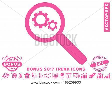 Pink Search Gears Tool pictograph with bonus 2017 year trend elements. Vector illustration style is flat iconic symbols white background.
