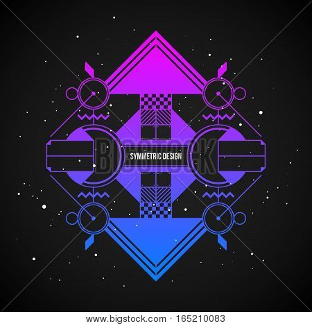 Futuristic Design Element In 80S Style With Colorful Gradient On Dark Background. Useful As Poster O