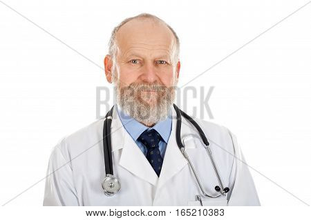 Picture of a confident aged doctor posing on an isolated background