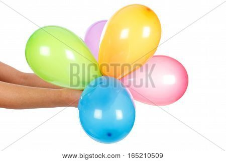 Picture of a bunch of colorful balloons on an isolated background
