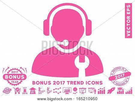 Pink Service Operator pictogram with bonus 2017 year trend pictograms. Vector illustration style is flat iconic symbols white background.