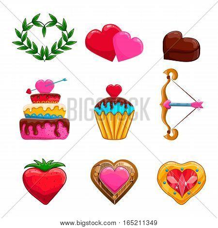 Set of cute cartoon Valentines Day items design