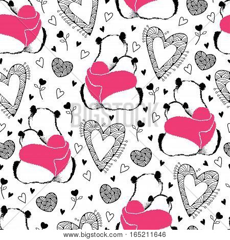 Vector seamless pattern with panda couple in love and ornate heart on the white background. Design elements and holiday symbols in contour style for Valentine day. Romantic background with panda.