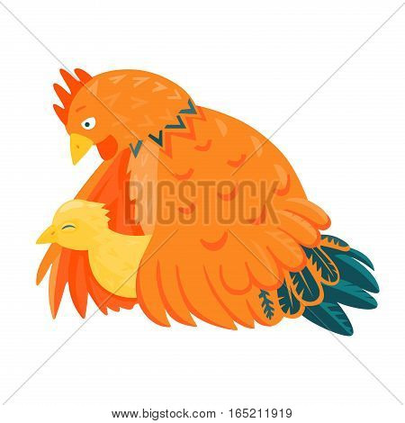 Red chicken mother with a yellow chick vector illustration cartoon style