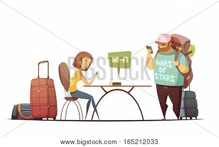 People in hostel interior design concept with man and woman reading online information in their phones cartoon vector illustration