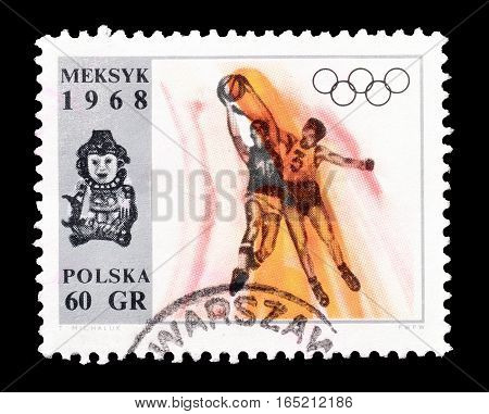 POLAND - CIRCA 1968 : Cancelled postage stamp printed by Poland, that shows Basketball.