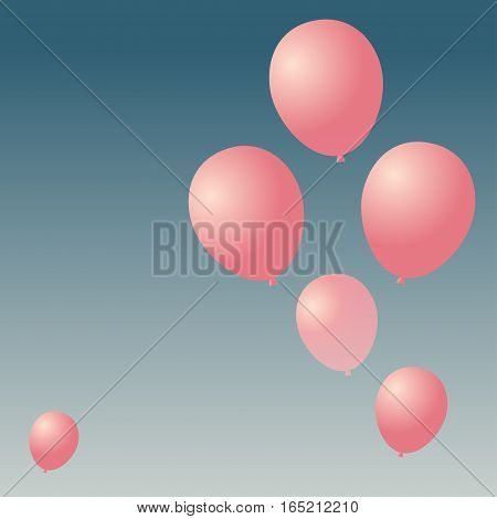 Balloon in the sky Vector illustration Six pink balloons rising into the sky Realistic style
