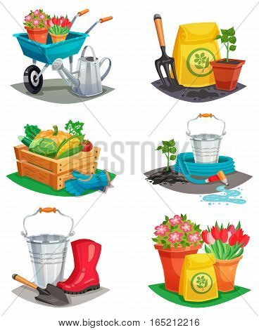 Set of isolated garden design compositions of colored decorative icons with handcart watering can rubber boots inventory for agriculture work flat vector illustration