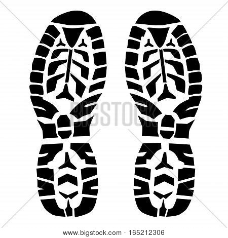 Boot step prints isolated on white black