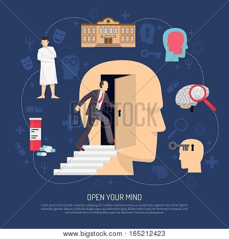 Modern abstract poster with human profile icons symbolizing psychologist support and slogan open your mind flat vector illustration