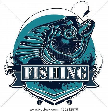 Piranha Fishing Logo Blue