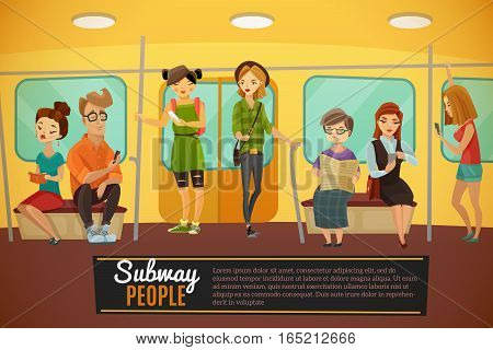 Subway background with underground train people and activity symbols flat vector illustration