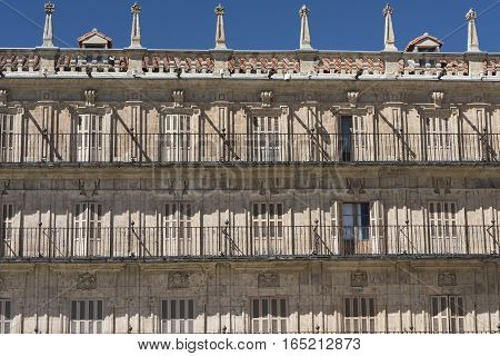 Salamanca (Castilla y Leon Spain): the historic Plaza Mayor the main square of the city