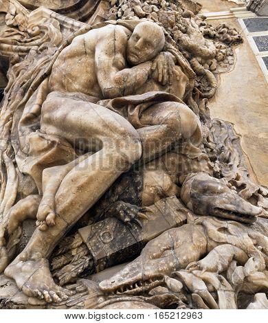 Valencia (Spain) facade of the Palace of Marques de Dos Aguas. A statue