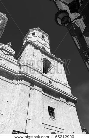 Valladolid (Castilla y Leon Spain): facade of the historic cathedral. Black and white