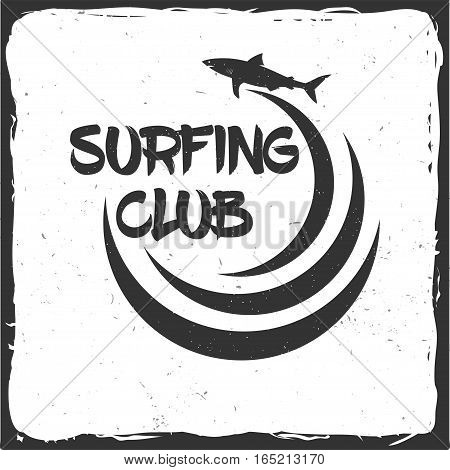 Summer surfing retro badge with shark and wave. Surfing concept for shirt or logo, print, stamp. Vector illustration.