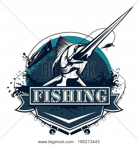Blue marlin fishing logo illustration isolated on white