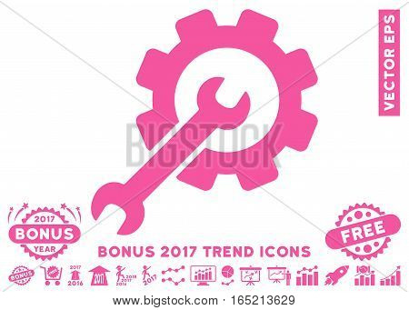Pink Setup Tools pictogram with bonus 2017 year trend pictograph collection. Vector illustration style is flat iconic symbols white background.