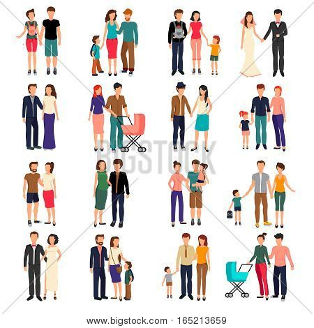 Heterosexual couples and families with children flat set isolated on white background vector illustration