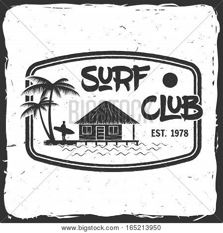 Surf club retro badge. Surfing concept for shirt or logo, print, stamp. Lagoon beach hut. Vector illustration.