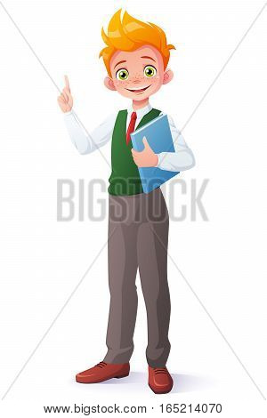 Cute smiling young student redhead boy in school uniform standing with book got the idea and index finger pointing up. Cartoon style vector illustration isolated on white background.