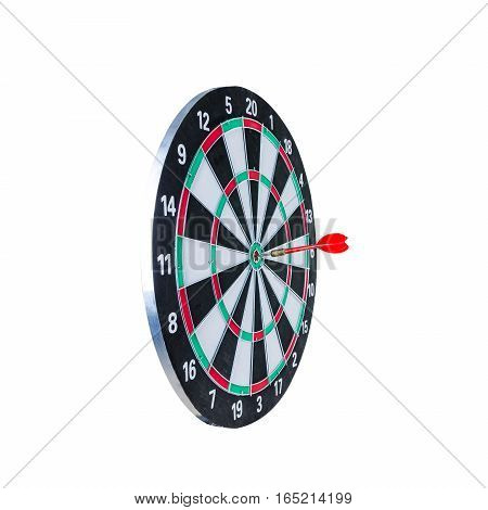 Close up shot red dart arrow on center of dartboard metaphor to target success winner concept Isolated on white background with clipping path