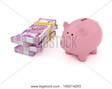 New Indian Currency with Piggy Bank - 3D Rendered Image