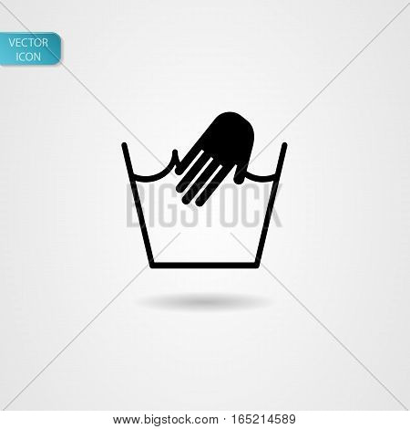 'Hand washing' symbol vector icon black on gray background