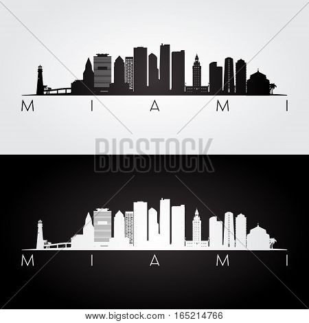 Miami USA skyline and landmarks silhouette black and white design vector illustration.