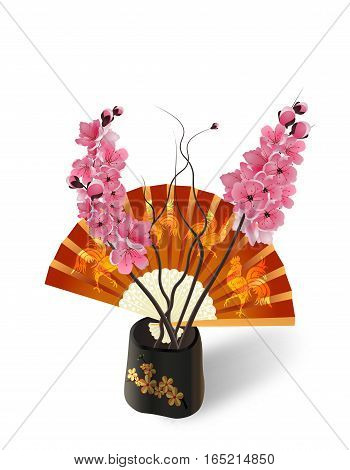 Ikebana. Composition. Sakura on the background of a fan with a picture of the cock. Isolated on white photo-realistic. vector illustration