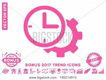 Pink Time Setup Gear pictograph with bonus 2017 trend icon set. Vector illustration style is flat iconic symbols white background.