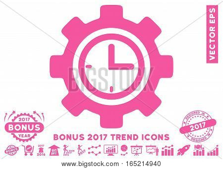 Pink Time Setup Gear pictograph with bonus 2017 trend design elements. Vector illustration style is flat iconic symbols white background.