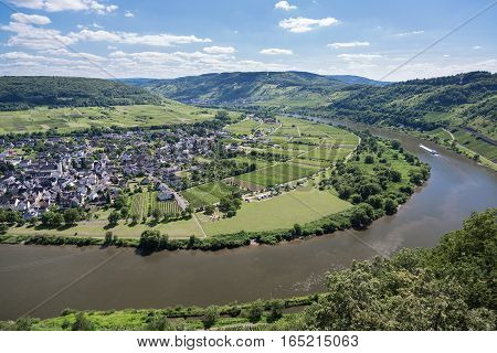 Aerial view river Moselle near Punderich in Germany
