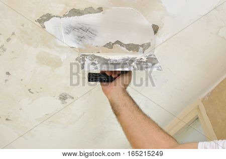 Applying Plaster To A Ceiling