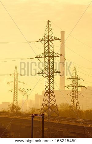 Industrial composition against the background of power lines