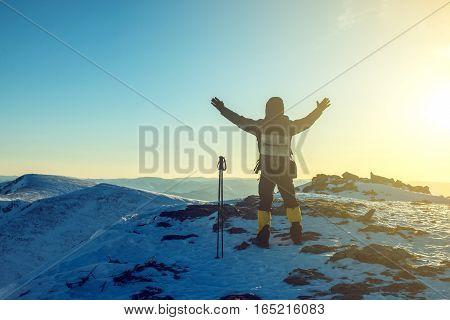 Man Hikers Tourist Celebrating Success Standing On Top, At Peak