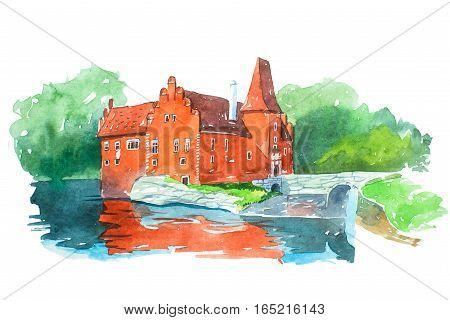 Castle Cervena Lhota famous landmarks travel and tourism waercolor illustration.
