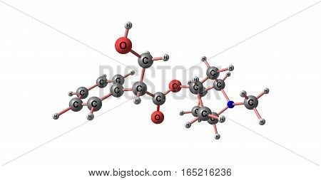 Hyoscyamine or daturine is a tropane alkaloid. It is a secondary metabolite found in certain plants of the family Solanaceae. 3d illustration