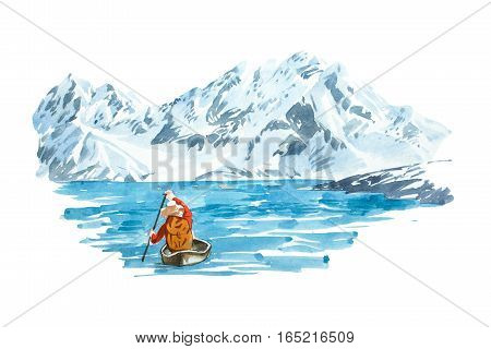 Winter lake with mountain background, natural landscape