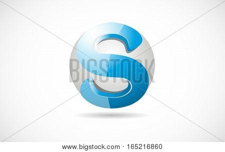 Alphabet letter S sphere 3d blue corporate business vector logo icon sign design template