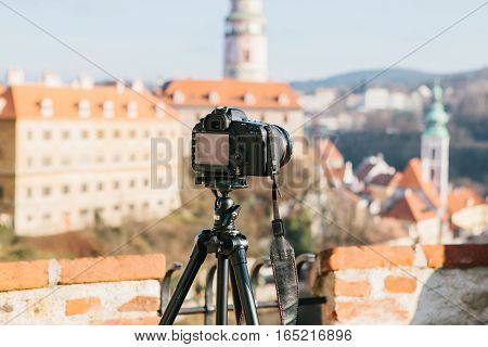 View of Cesky Krumlov, Czech Republic. Europe. Focus on camera.