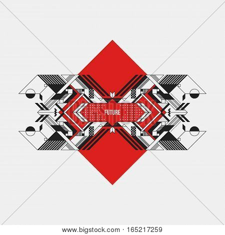 Abstract Symmetric Design Element On Red Rhombus. Futuristic Design, Useful For Prints And Posters.