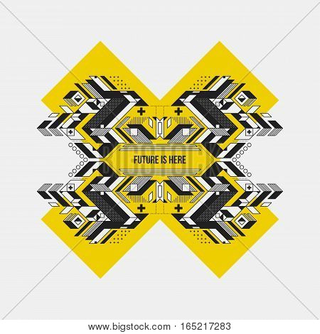 Abstract Symmetric Design Element On Yellow Cross. Futuristic Design, Useful For Prints And Posters.